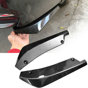 2× Car Carbon Fiber Rear Bumper Lip Diffuser Splitter Canard Protector Accessory