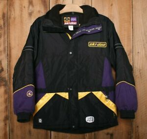 SKI-DOO Bombardier Black, Purple & Yellow 3-In-1 Snowmobile Jacket Youth Sz. 12