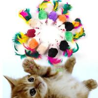 10pcs Funny Pet Cat Kitten Plush False Mouse with Colorful Feather Playing Toys
