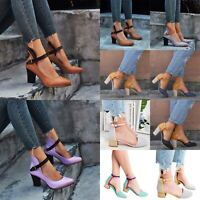 Womens Mid High Block Heels Ankle Strap Buckle Shoes Casual Party Sandals Pumps