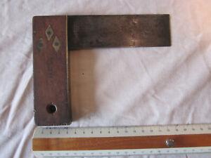 Ancienne (avant 1914) petite équerre de menuisier LEBREC bois et laiton
