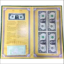 USA UNCUT 4x (2x2) ONE DOLLAR US$1 banknote with hard folder (UNC) SOLD