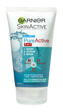 Garnier Skin Naturals Pure Active Gel 3 in 1 Wash Scrub Mask oily skin exfoliate