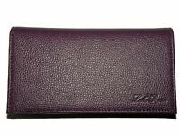 Real Full Grain Leather Checkbook Cover -- Purple    2 YEAR 100% MONEY BACK