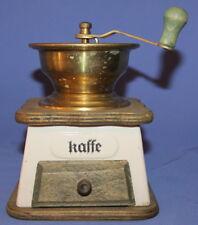 Vintage Nordic Brass/Wood/Porcelain Coffee Grinder Mill