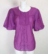 WALLIS magenta Purple satin crochet pleated button front Flare sleeve blouse 12