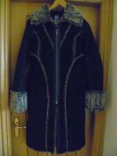 "Firetrap Suede-feel Faux Fur Trim warm winter Black Coat size 8/10  34"" bust vgc"