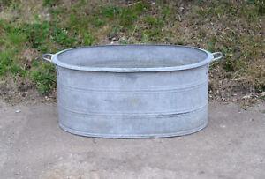 vintage old galvanized bath metal bath tub dog washing - 74 cm