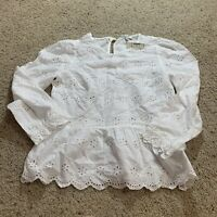 Madewell Womens Floral Eyelet Keyhole Peplum Blouse 2019 L0014 White Xs NWT New