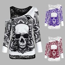 Damen Spitze Schulterfrei LangarmShirt Gothic Schädel Bluse Oberteile Top Shirt