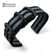 Black & Gray Stripes Nylon Watch Band Strap Belt Army Military Black Buckle #42
