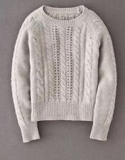 Womens Boden Fitted Cable Knit Ribbed Long Sleeve Sweater Wool Blend Gray Size 8