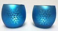 2 Blue Glass Snowflake Tea Light Votive Candle Holders ~ Holiday Christmas Decor