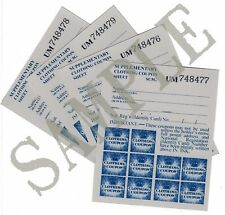 WW2 Supplementary Clothing Ration Coupon Sheets x4 (Exact Copies)