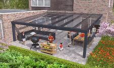 Terrassenüberdachung mit Echtglas, VSG 700x400cm.  Nur zwei Stützen