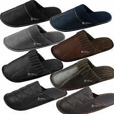 Mens Faux Leather / Suede Mule Slippers Shoe Sizes 6-11 3 Styles Dad Father Gift