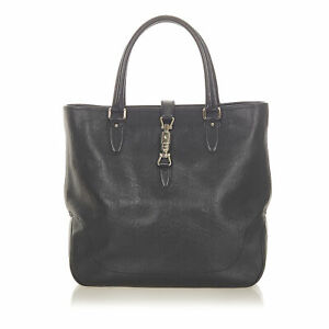 Pre-Loved Gucci Black Calf Leather Guccissima New Jackie Tote Bag ITALY