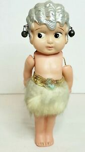 """Vintage 7"""" CELLULOID Doll Girl Japan 1920s Bobbed Hair Antique Sticker on Foot"""