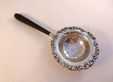 "Fancy Sterling Tea Strainer W/ Wood Handle By Frank Whiting-6 7/8"" Length"