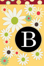 Toland Home Garden Sleeved House Flag 28 x 40 Floral Monogram B Daisies Dots