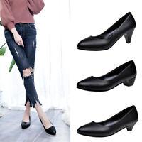 Women Girls OL Work Pump Shoes Chunky Block Heels PU Leather XE