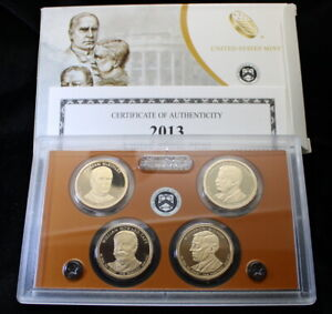 2013 U.S. Mint Presidential 1$ Dollar Coin Proof Set Complete With Box & COA