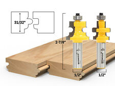 "Flooring 2 Bit Tongue and Groove Router Bit Set - 1/2"" Shank - Yonico 15230"