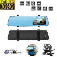 "4.3"" Car Dash Cam Dual Lens HD 1080P DVR Video Camera Recorder+Rearview Mirror"