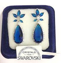 Orecchini da donna pl.oro bianco 18K zirconi cristalli swarovski Blu SW56/fiore
