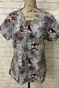 Disney Gray Mickey And Minnie Mouse Scrub Top Cotton Size Med Butterflies