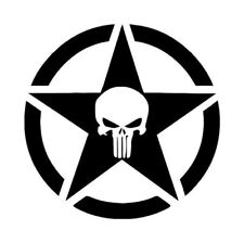 """Skull Army Star decal fits Jeep large 20"""" Vinyl military hood graphic body"""