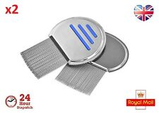 2pcs Lice Nit Comb Full Stainless Steel Metal Head and Teeth Adults Children Pet