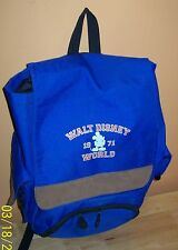 Walt Disney World 1971 Blue Canvas Brown Suede Backpack Mickey Mouse Bookbag