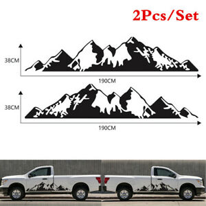 Universal 1Pair Black Mountain Graphic Stickers Fit For Car Body 2-Side Doors