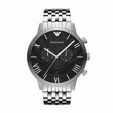Emporio Armani Mens Chronograph Watch Stainless Steel Bracelet Black Dial AR1617