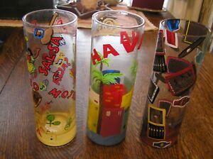 "Lot of 3 Lolita MOJITO Colorful 7.25"" Tall Hand~Painted Glass Bar Set w/ Recipe"