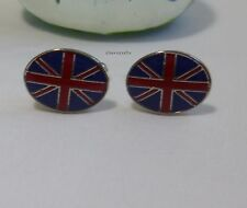 Special Offer Silvered solid brass France style  UK flag Cufflinks Size:15X19mm
