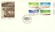 CANADA 1989 FIRST DAY COVER, # 1229/32 BLOCK OF 4 SMALL CRAFT NATIVE BOATS !