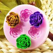 3 Loch 3D Rose Blumen Silikon Backform Ausstechform Marzipan Fondant Torten Deko