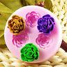 3 Loch 3D Rose Blumen Silikon Backform Ausstechform  Fondant Torten Deko