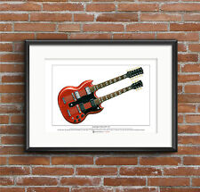 Jimmy Page's Gibson EDS-1275 Limited Edition Fine Art Print A3