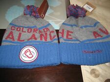 MENS COLORADO AVALANCHE Mitchell & Ness Winter BEANIE HAT GRAY/BLUE NWT