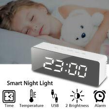 Digital LED Large Display Alarm Clock USB/Battery Operated Mirror Face Design