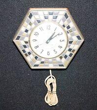 Vintage General Electric Kitchen Wall Clock Mosaic Tile Hexagon Retro MCM Works!