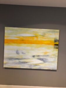 Large 160x120cm Artwork Yellow Abstract Painting on Canvas