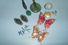 Vintage Jewellery Lot -Siam Silver Earrings -Jade Pendants -Bluebird Brooch etc.