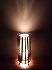 Unusual Real White Shell & Bamboo Hand Made Cylinder Lamp 50cm Ethnic Bali Lamp