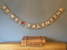 Be My Valentine Valentines Day Engagement  Bunting Banner. Hessian Burlap