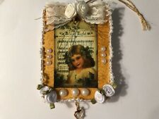 Vintage image inspired Wood Christmas ornament, Angel handcrafted item 13