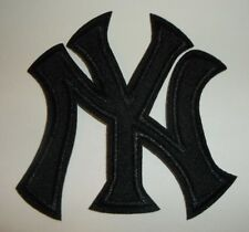 """New York Yankees NY Embroidered PATCH~3 1/2"""" x 3""""~BLACK~Iron On~MLB~FREE US Mail"""